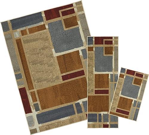 Mohawk Home Soho Regnar Geometric Squares Printed Area Rug Set, Set Contains 1 6×2 6, 1 8×5 and 5 x7