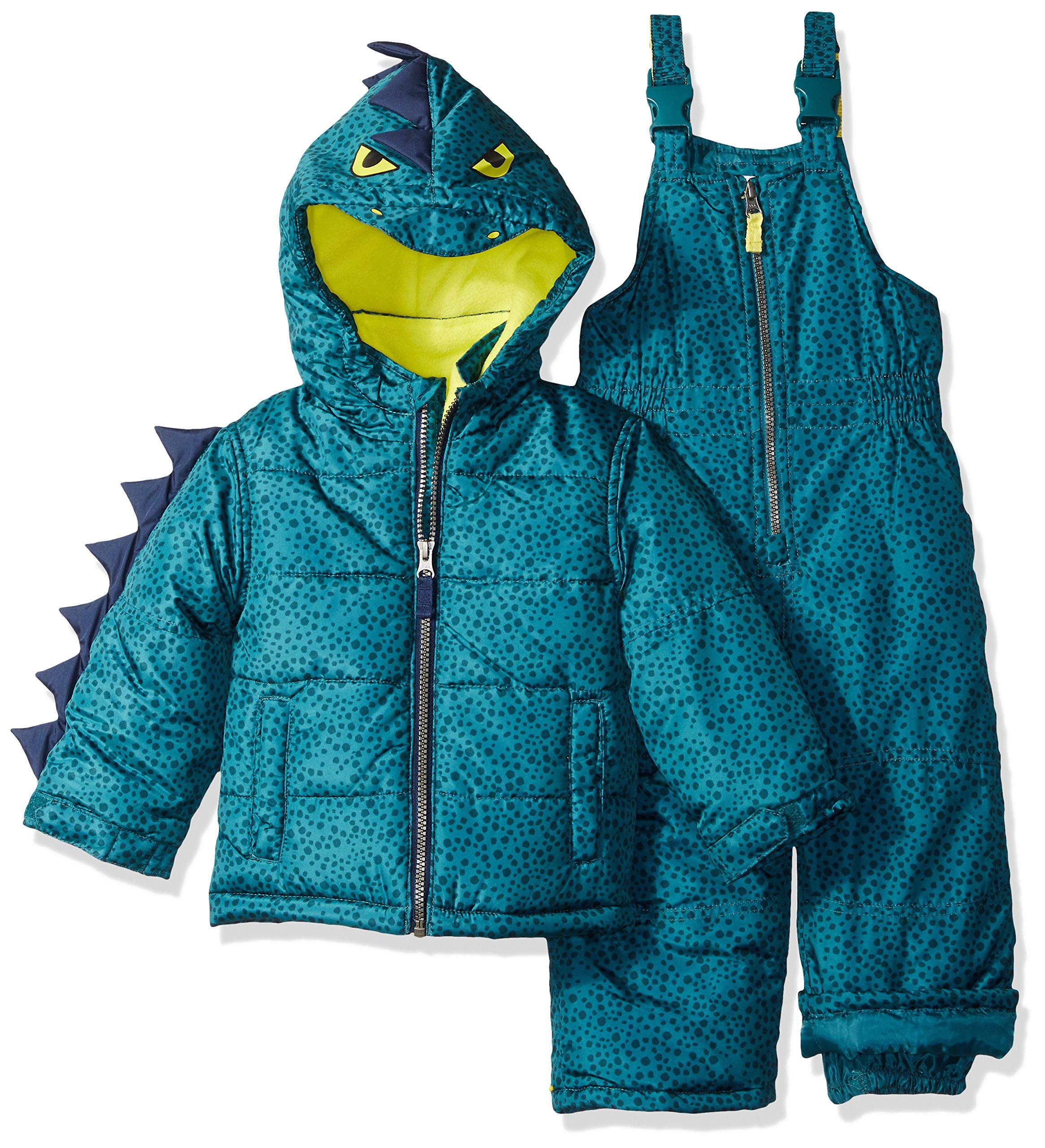 Carter's Little Boys' Character Snowsuit, Green Dinosaur, 4