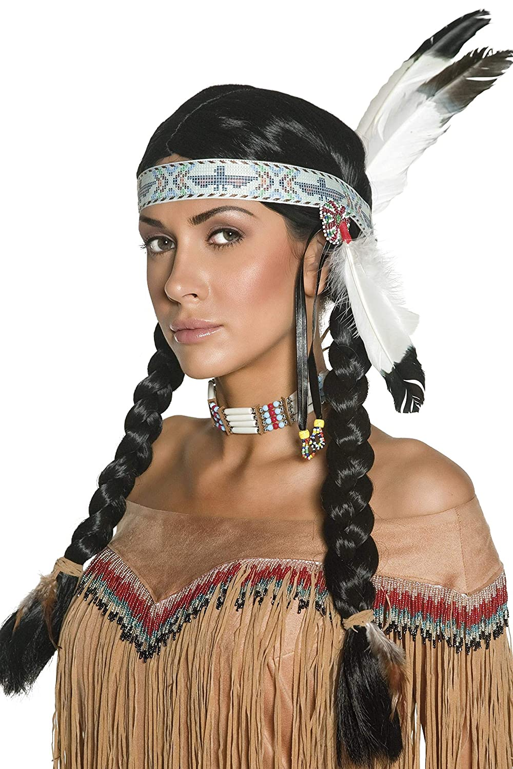 Smiffys Women's Native Indian Wig Plaits with Feather Headband Black One Size RH Smith & Sons LTD 42042