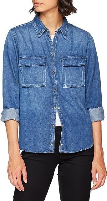 Marca Amazon find. Camisa Vaquera Mujer, Azul (Blue), 48