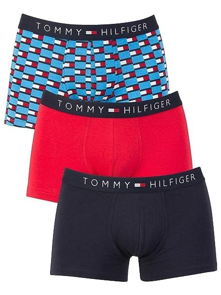 Tommy Hilfiger Premium Essentials Stretch Cotton 3-Pack Trunk Green// Navy// Red