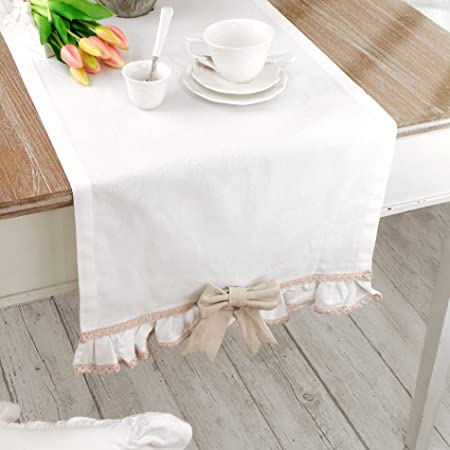 Chemin De Table Beige Et Blanc