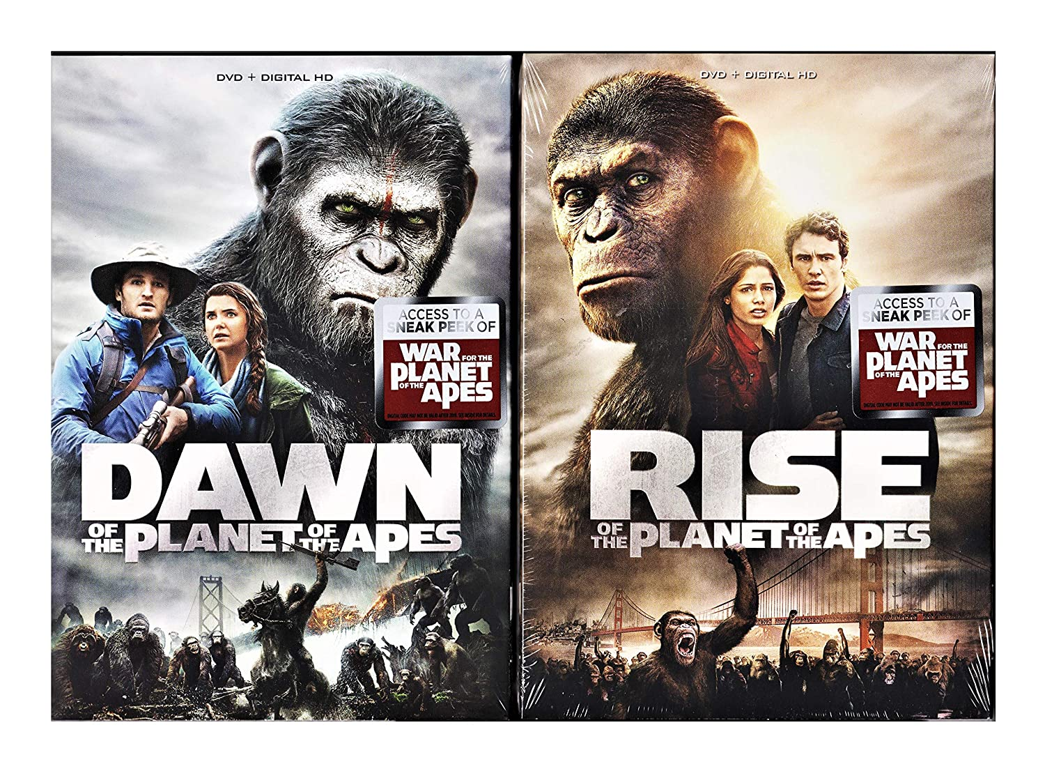 Amazon Com The Apes 2 Pack Dawn Rise Of The Planet Of The Apes 2001 Movie Double Feature Sci Fi Bundle James Franco Andy Serkis Rupert Wyatt Movies Tv