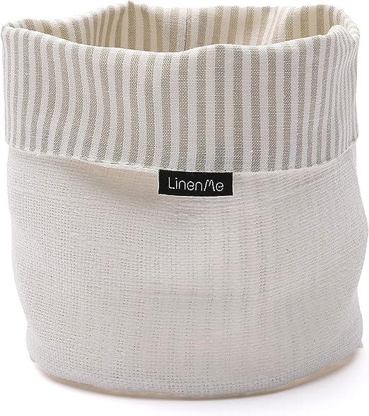 Linenme Lino Lara algodón Cesta, 6 por cm, Color Beige/Blanco ...