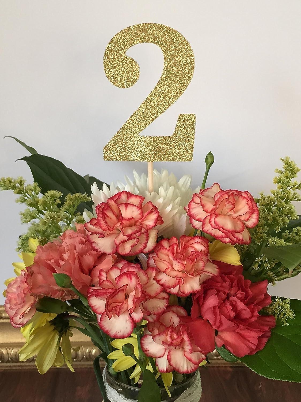 Amazon Second Birthday Decorations Age 2 Centerpiece Picks Glitter Numbers On A Stick Sticks Quantity Of 3 Handmade