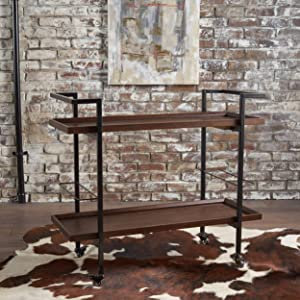 Christopher Knight Home 301872 Gerard Industrial Dark Walnut Finished Wooden Bar Cart