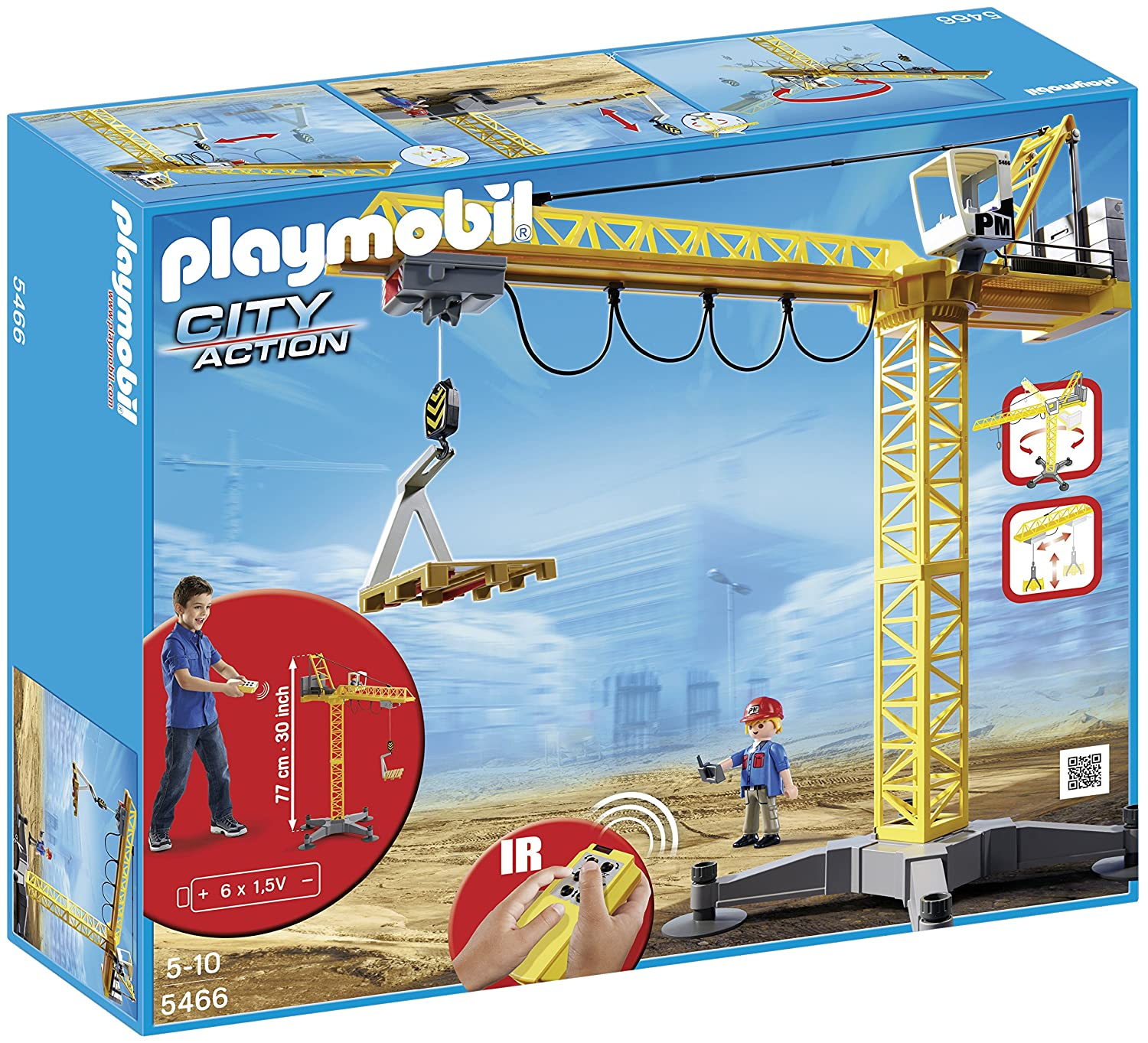 Playmobil 5466 City Action Large Construction Crane with Infra-Red Remote  Control - Multi-Coloured: Amazon.co.uk: Toys & Games