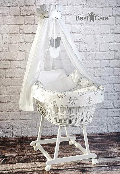 Bestcare®-Cuna con ruedas, color blanco incluye colchón de alta calidad AloeVera-