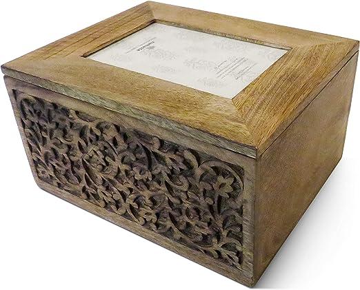 Purity Style - Caja de recuerdos de madera con marco de fotos integrado: Amazon.es: Hogar