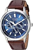 Citizen Men's Eco-Drive Stainless Steel Japanese-Quartz Watch with Leather Calfskin Strap, Brown, 20 (Model: BU2070-12L