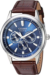 f6d053557 Citizen Men's Eco-Drive Stainless Steel Japanese-Quartz Watch with Leather  Calfskin Strap,