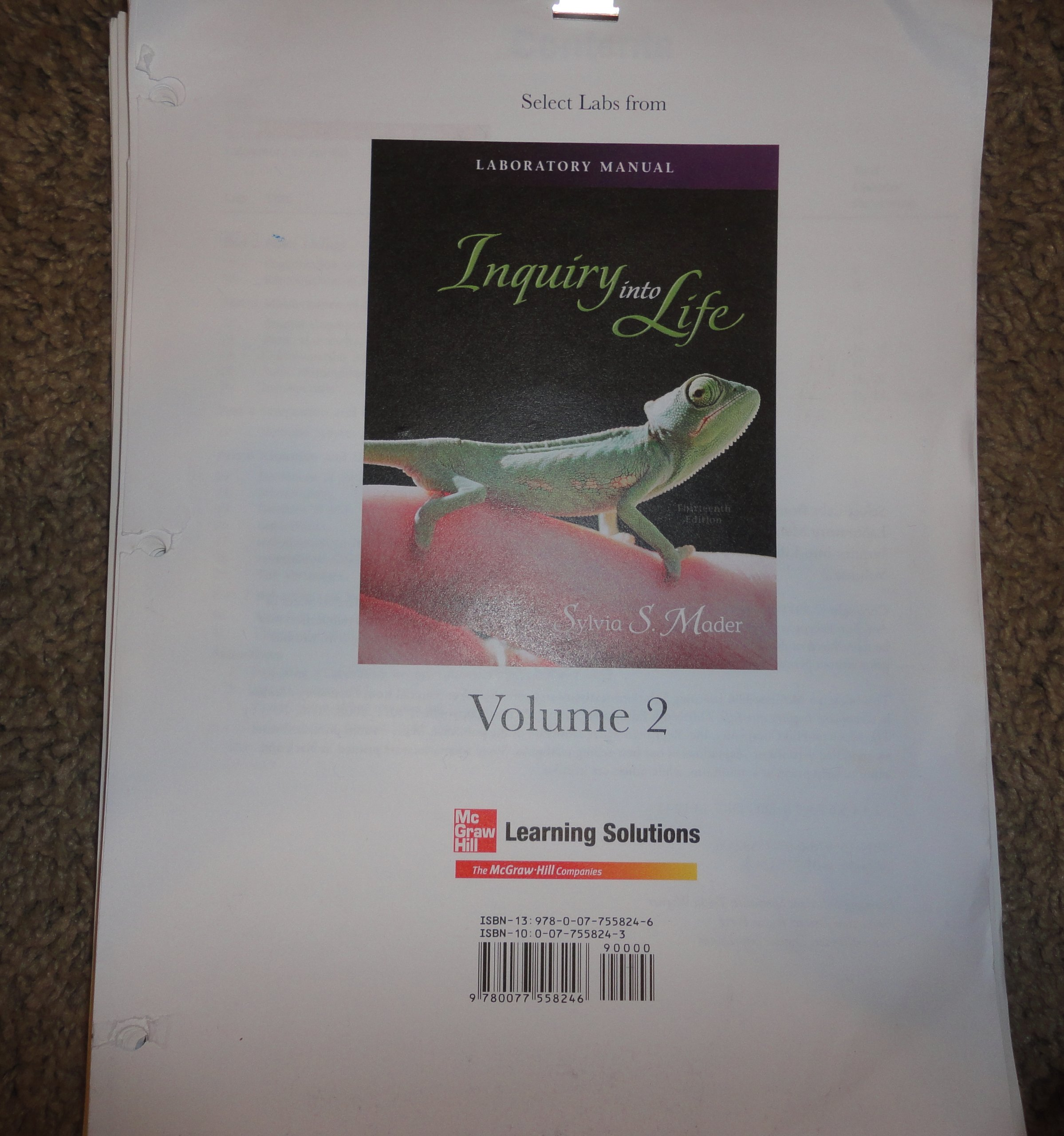 Laboratory Manual Inquiry Into Life: Sylvia S Mader: 9780077558246:  Amazon.com: Books