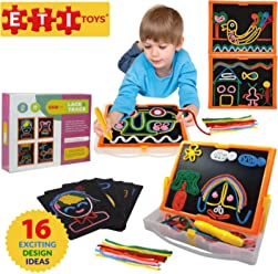 ETI Toys | 58 Piece Lace and Trace with Board; Draw House, Duck, Car, Trees, People, Sun and More! 100% Non-Toxic, Fun, Creative Skills Development! Best Gift, Toy for 6, 7, 8 Year Old Boys and Girls