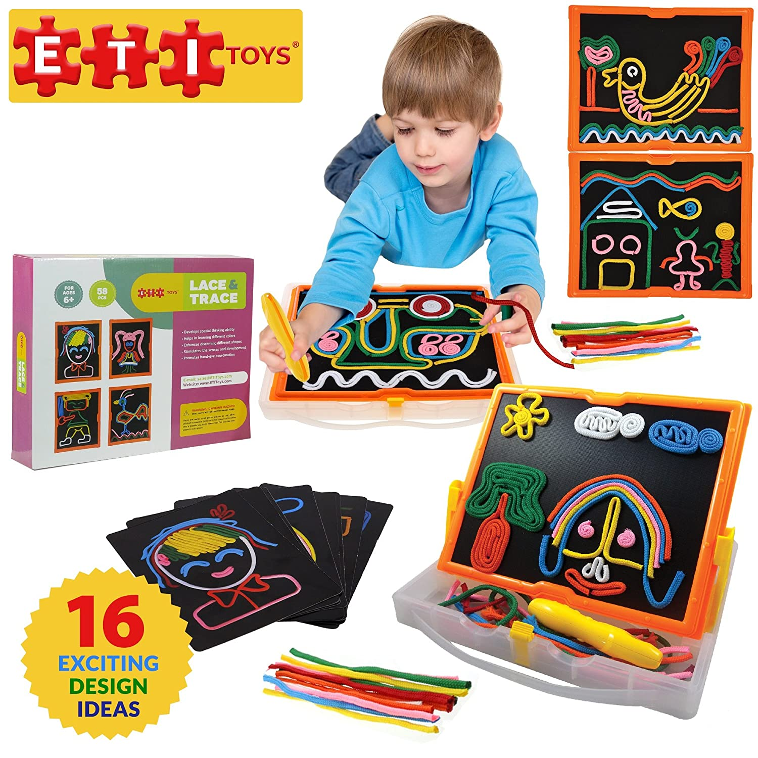 ETI Toys | 58 Piece Lace and Trace with Board; Draw House Duck Car Trees People Sun and More 100% Non Toxic Fun Creative Skills Development Best Gift Toy for 6 7 8 Year Old Boys and Girls