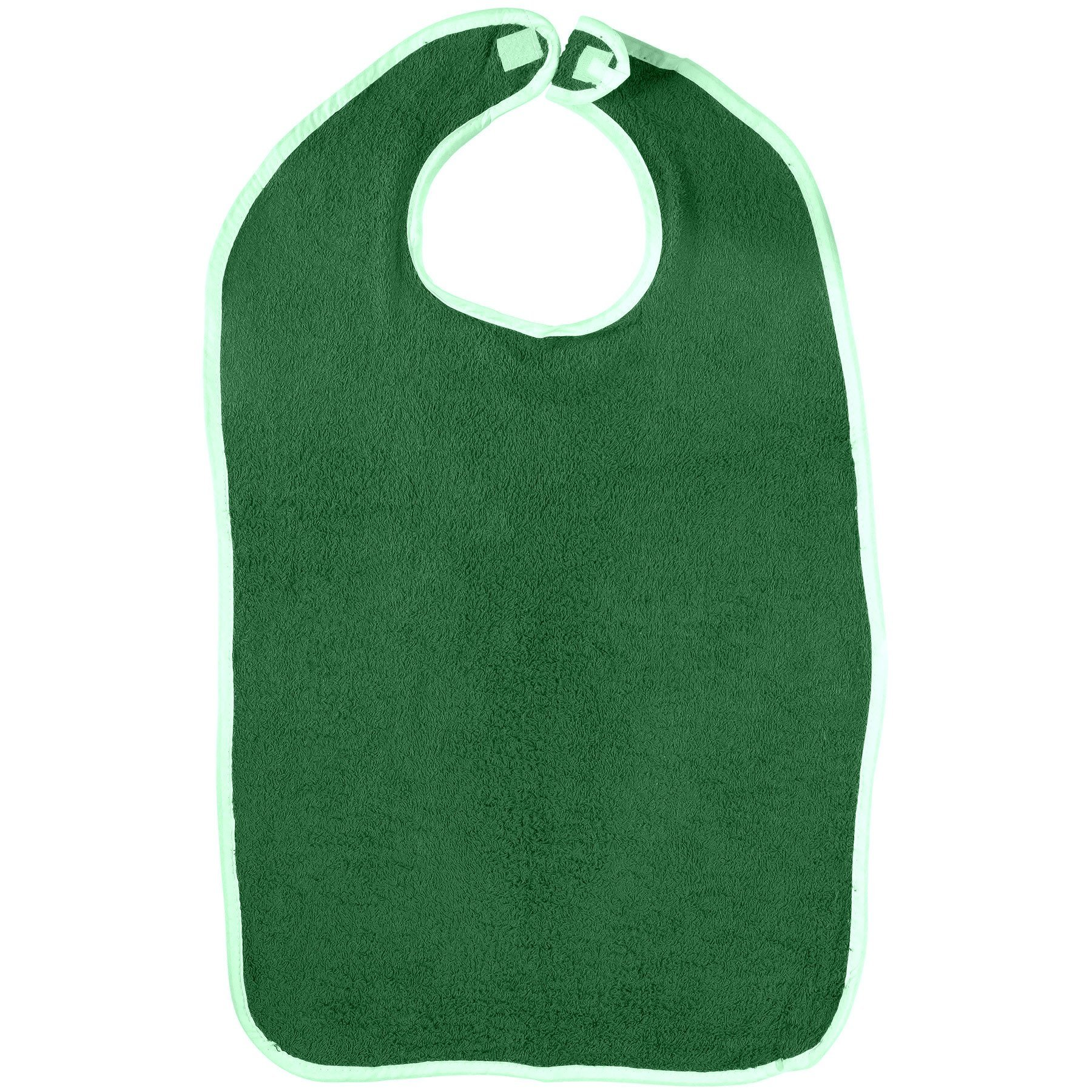 6-Pack Adult Terry Bibs- Extra Thick, Double Ply Absorbent with Hook and Loop Closure (Aqua Green)
