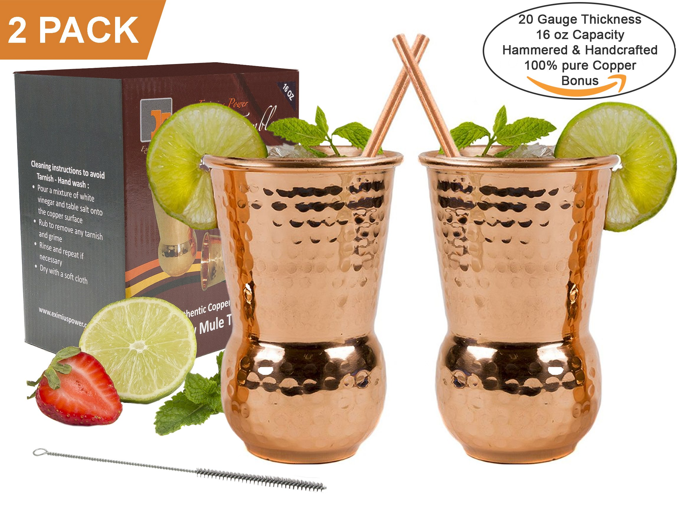 EXTRA THICK HEFTY 20 Gauge 16oz Handcrafted Eximius Power Moscow Mule Copper Mugs - 100% Pure Solid Copper - Food Safe - Hammered Design - Gift Set of 2 - Bonus Straws & a Cleaning Brush