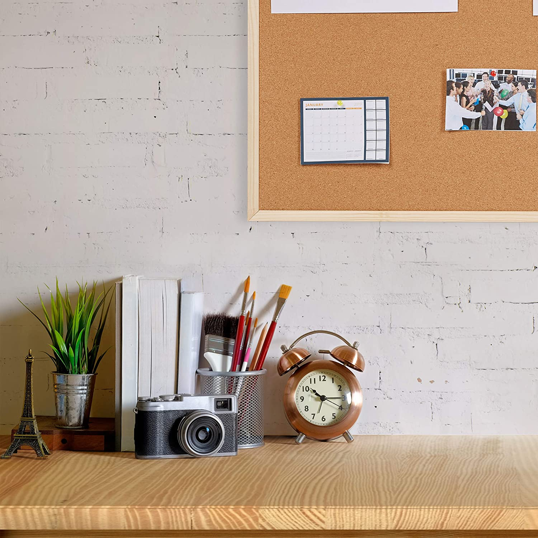 Naturale Lavagna Ufficio in Sughero con Cornice Relaxdays Cartone 35 x 50 cm,Legno Bacheca Avvisi da Appendere 35 x 50 x 1,5 cm