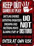 Keep Out Gamer at Play Do Not Disturb Enter at Own Risk 9 inch x 12 inch Tin Metal Aluminum Wall Sign Made in the USA
