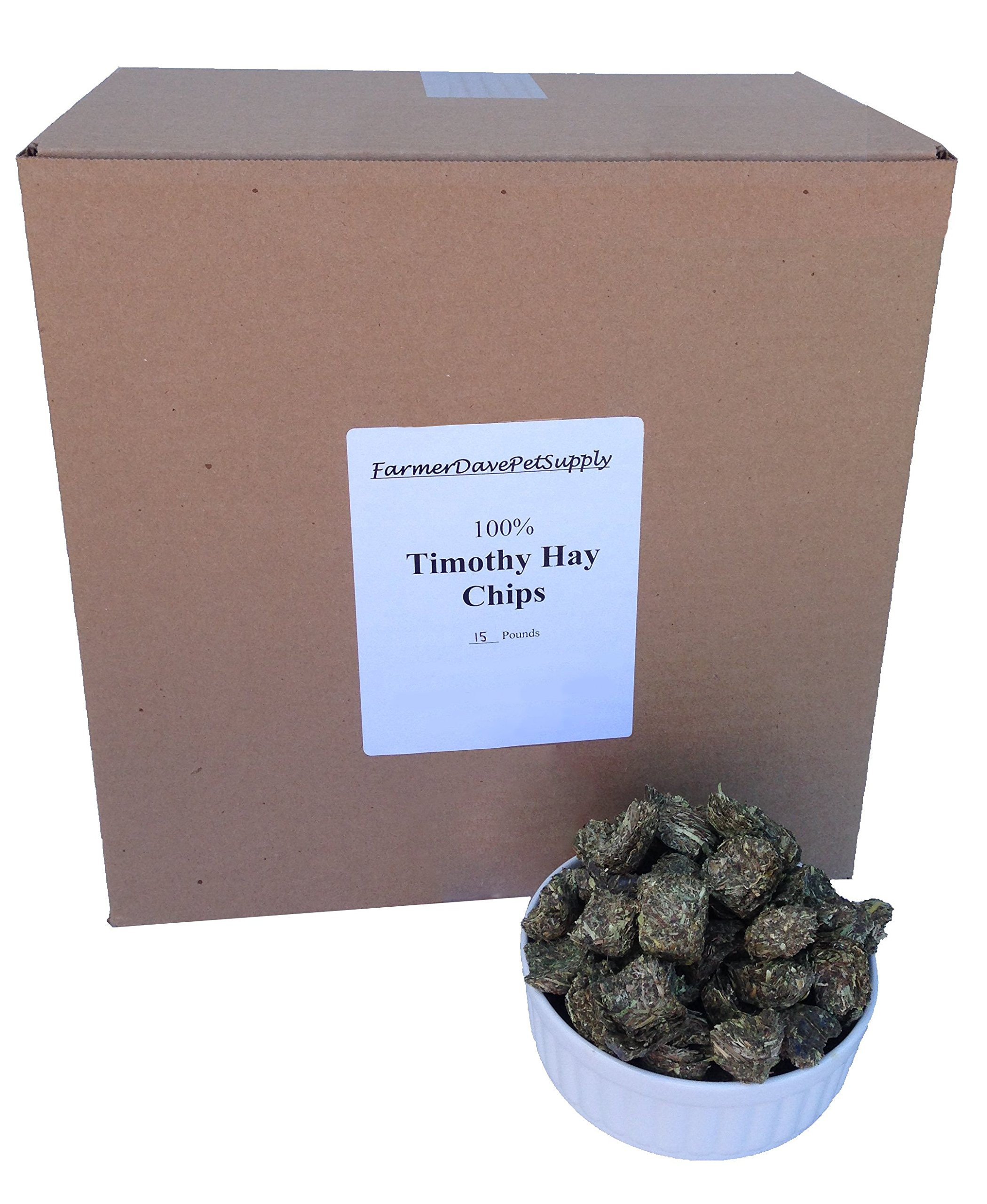 FarmerDavePetSupply 15 Pounds Premium Timothy Hay Chips for Pets