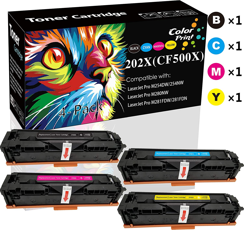 (4-Pack, B+C+M+Y) ColorPrint Compatible CF500X 202X Toner Cartridge 202A CF501X CF502X CF503X Used for HP Laserjet Pro M254dw M254nw M280nw M281fdn M281fdw M281cdw M254 M281 Printer