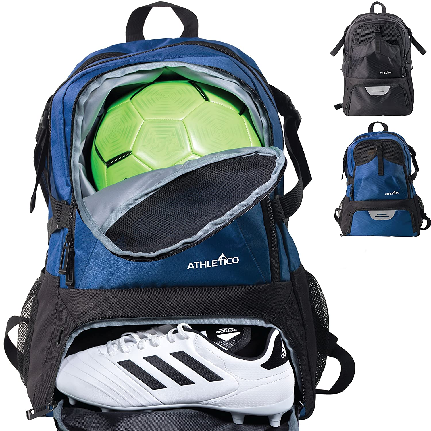 Athletico National Football Bag - Backpack for Football, Basketball & Volleyball Includes Separate Cleat and Ball Compartments