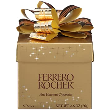 Ferrero Rocher Fine Hazelnut Chocolates, 6 Piece Gift Box, 2.6 oz.