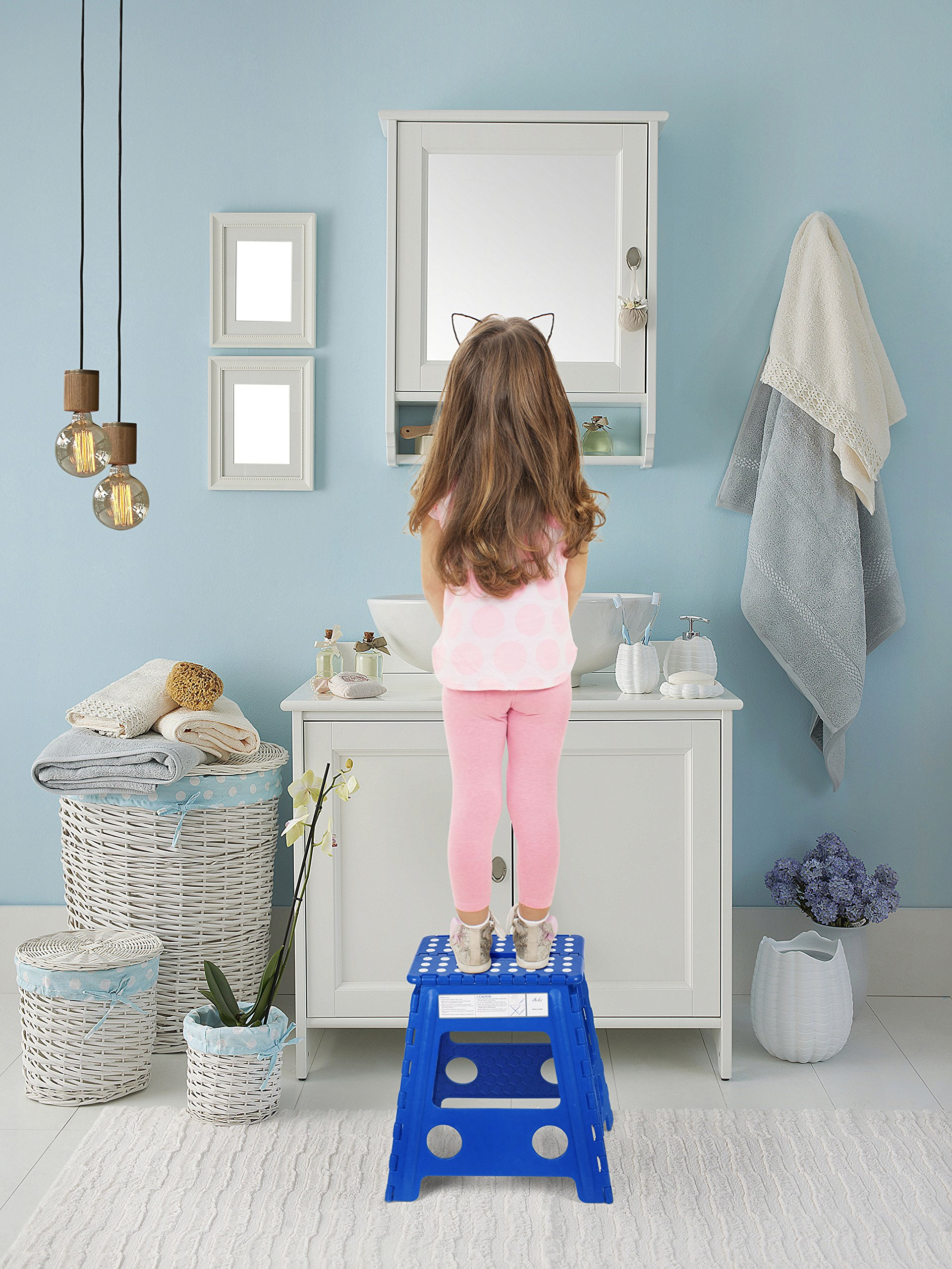 Acko 16 Inch Super Strong Folding Step Stool for Adults and Kids Kitchen Garden Usage Blue by Acko (Image #4)