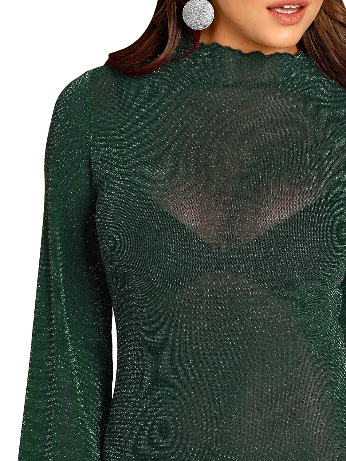 MAKEMECHIC Womens Lantern Sleeve Mock Neck Glitter See Through Sheer Bodysuit