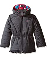 Pink Platinum Girls' Puffer Jacket with Big Dots Print Lining