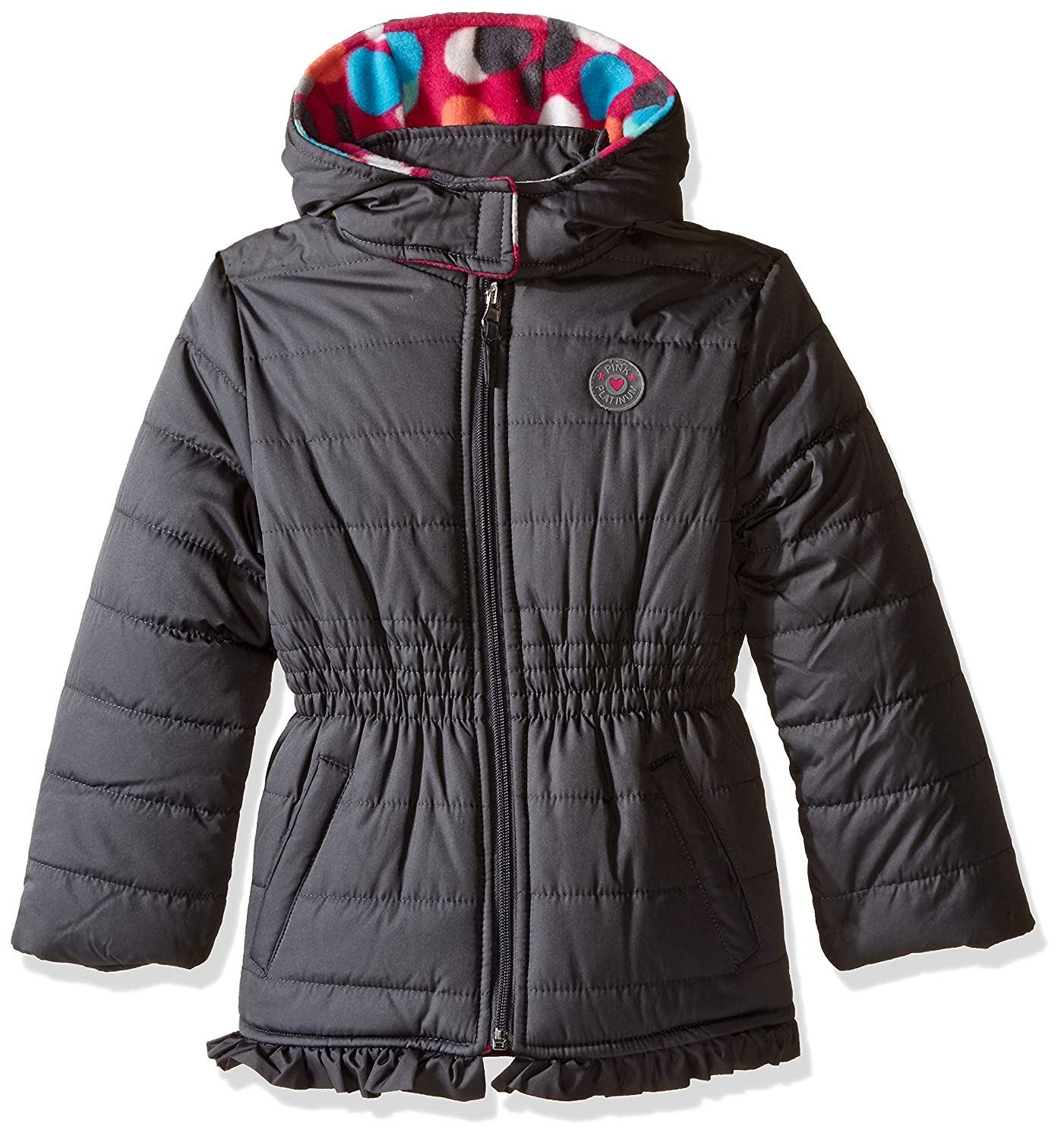 Pink Platinum girls Puffer Jacket With Big Dots Print Lining Charcoal 2T PP774310-CCL