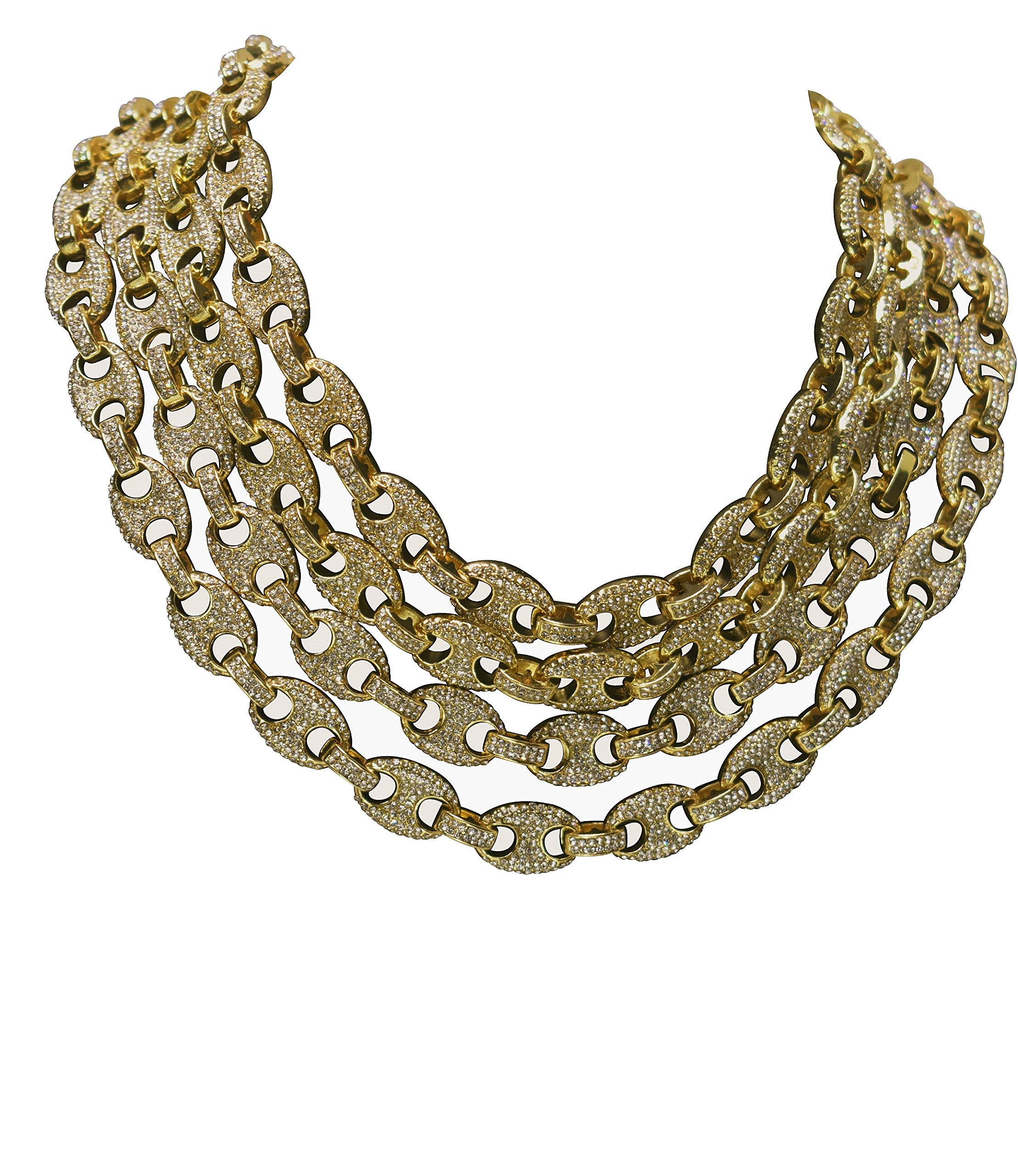 14K Gold PT 12mm 8.5'' - 30'' Iced Out Puffed Mariner Gucci Link Choker Chain (20'' Chain)