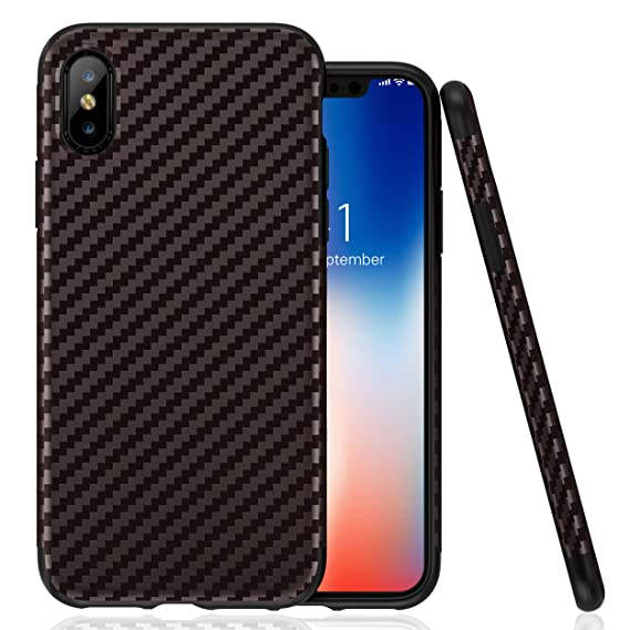 online retailer 97064 c3b79 ROYBENS iPhone Xs Case, Ultra-Slim Thin Fit Soft Silicone Cute Carbon Fiber  Pattern Anti-Slip Shock-Proof Bumper Hybrid Drop Protection Protective ...