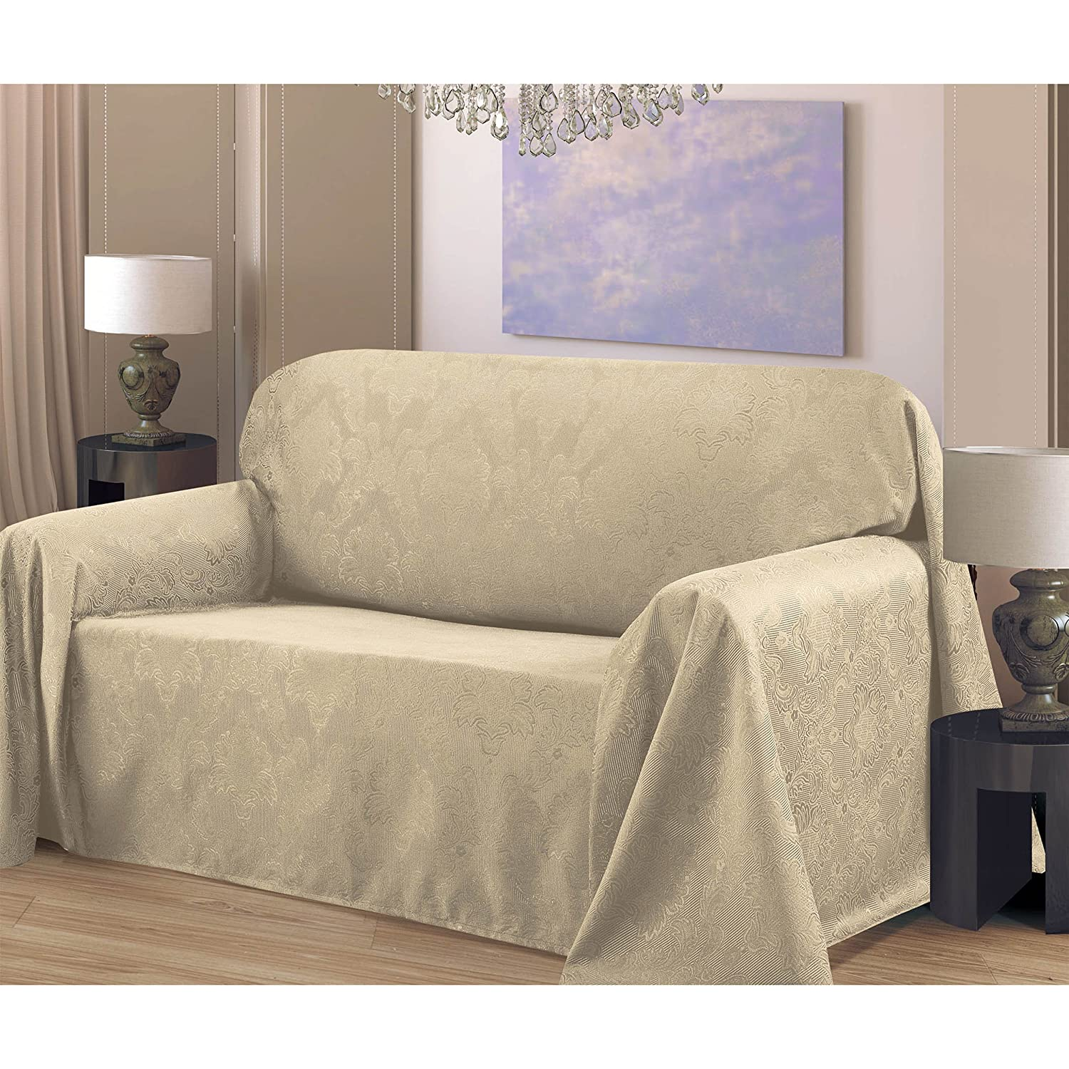 Amazon CHI Medallion Solid Jacquard Sofa Slip Cover 70 by