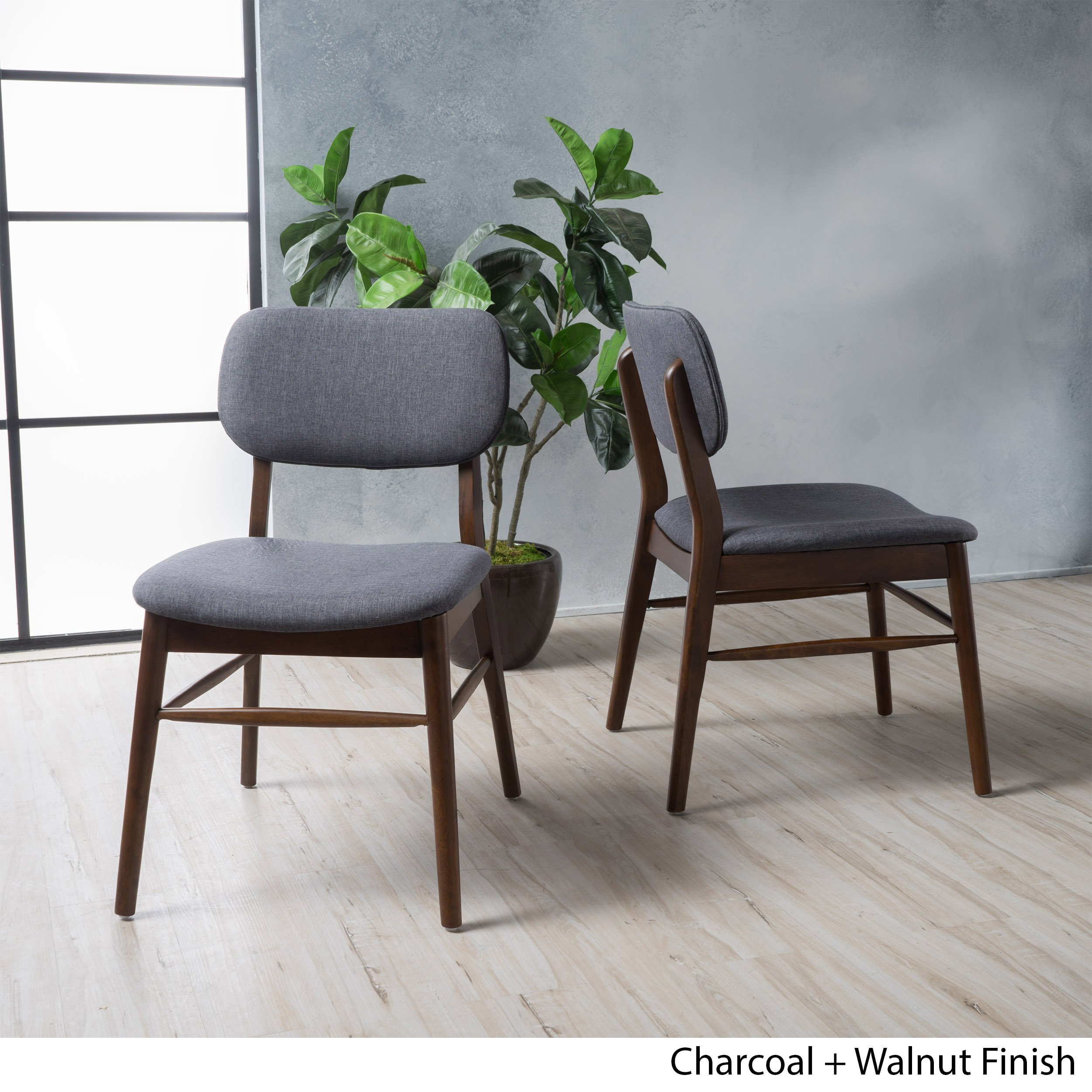 Christopher Knight Home 300014 Colette Fabric Dining Chairs (Set of 2), Charcoal