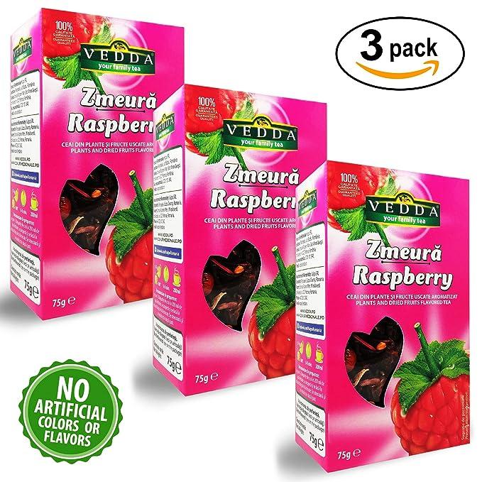 Vedda, Te Frambuesa (100+ Tazas de Té) Raspberry Tea, 100% Enteras Frutas y Hojas, Hibisco, Manzana, Rosa Mosqueta, Espino | Rico, Rejuvenecedor, ...