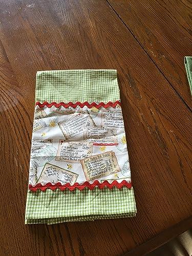 Amazon.com: Light Green Checkered Kitchen towel with recipe ...