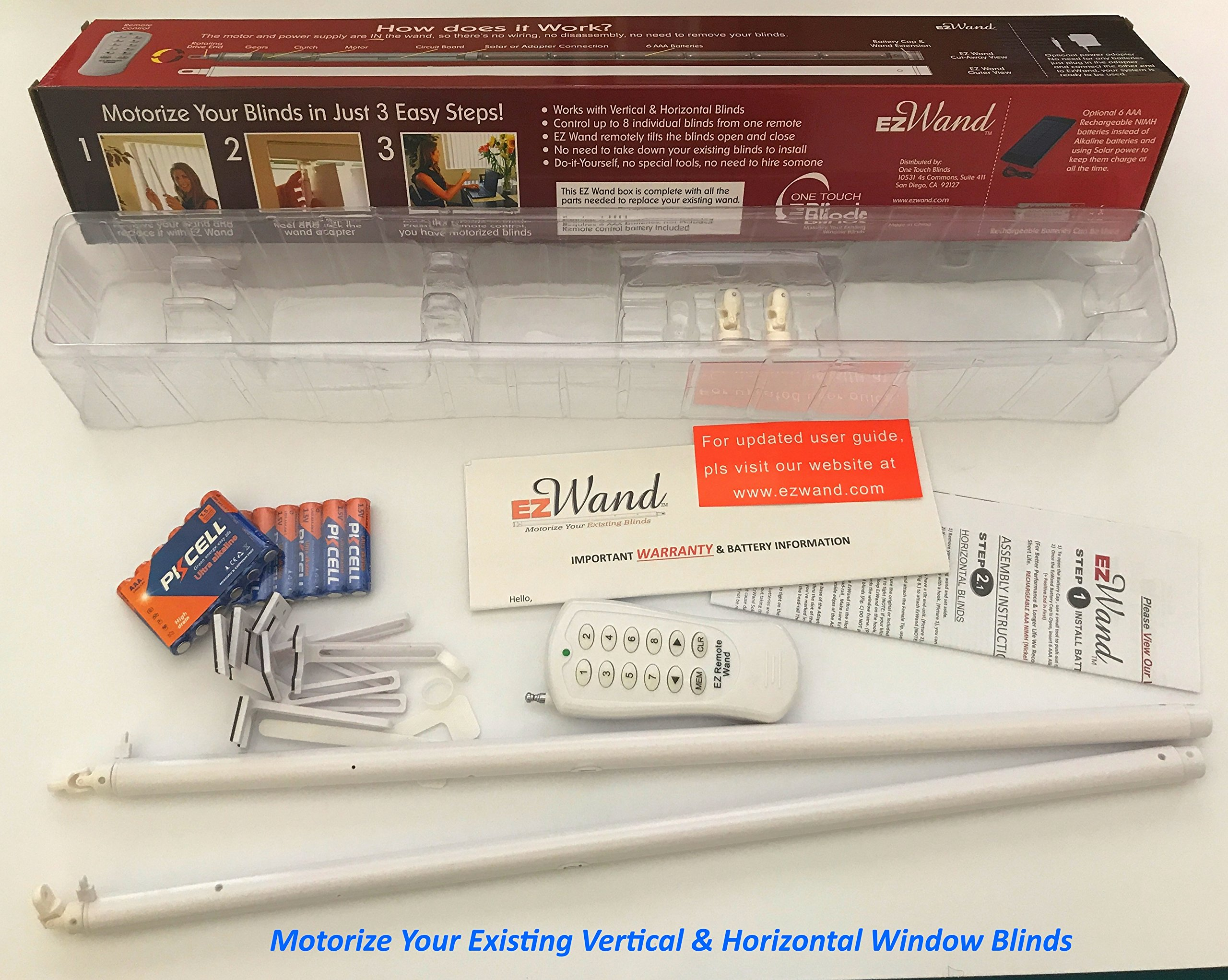 EzWand Blinds DUAL Package - Automate Motorize your Horizontal and Vertical blinds simply by replacing the Wand- Control up to 24 blinds, EZ Wand, Easy Wand, wand replacement, (Control 2 Blinds) by One_Touch_Blinds