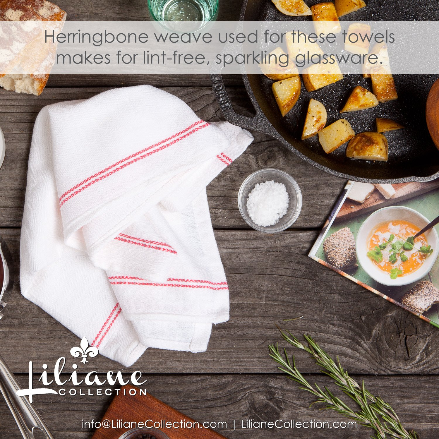 Liliane Collection Red Kitchen Dish Towels (13 pack) - Commercial Grade Absorbent 100% 2-ply Cotton Kitchen Towels (14''x27'') - Classic White Tea Towels with Red Side Stripes by by Liliane Collection (Image #3)
