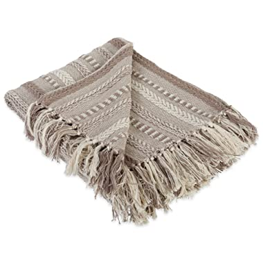DII Farmhouse Cotton Stripe Blanket Throw with Fringe For Chair, Couch, Picnic, Camping, Beach, & Everyday Use , 50 x 60  - Braided Stripe Stone