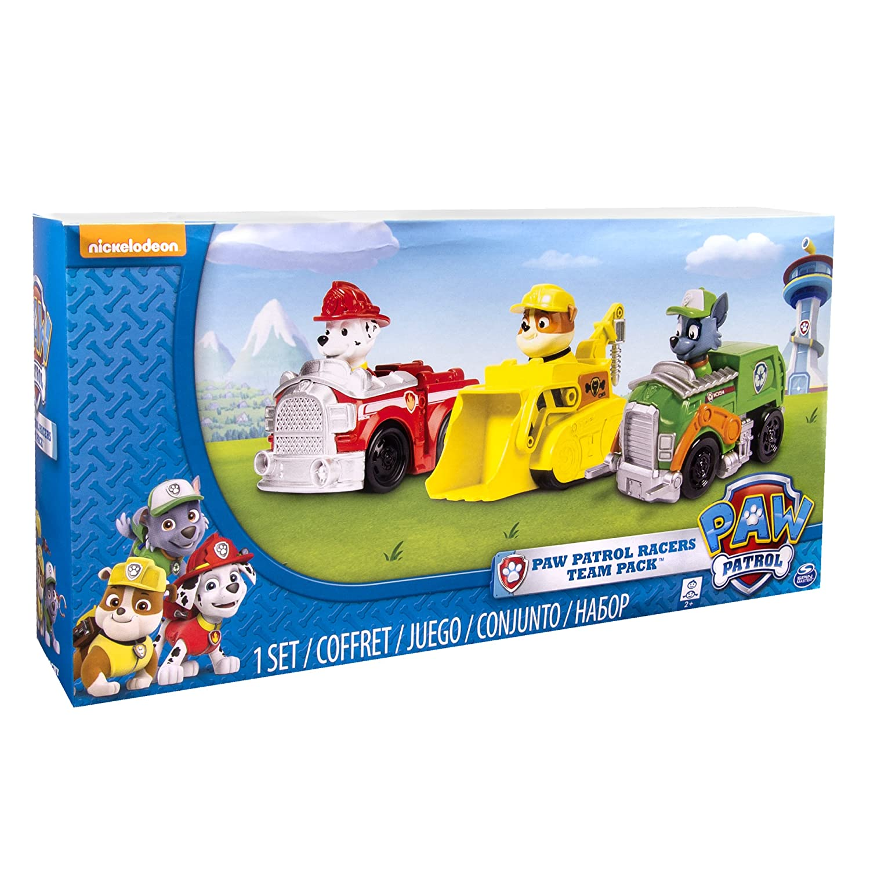 e1aa3cb40 Amazon.com: Paw Patrol Racers 3-Pack Vehicle Set, Marshall, Rocky, Rubble:  Toys & Games