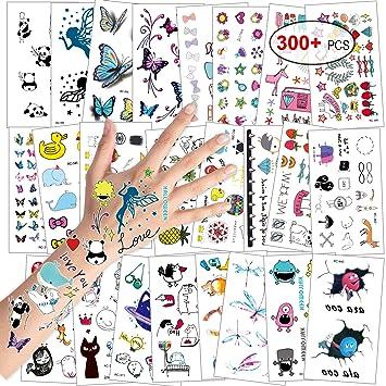 Konsait Tatuajes Temporales para Niños Niñas, Flor Mariposa Fruto Dibujos Animales Tatuajes Infantiles Tatoos Falso Pegatinas para piñata Niños ...