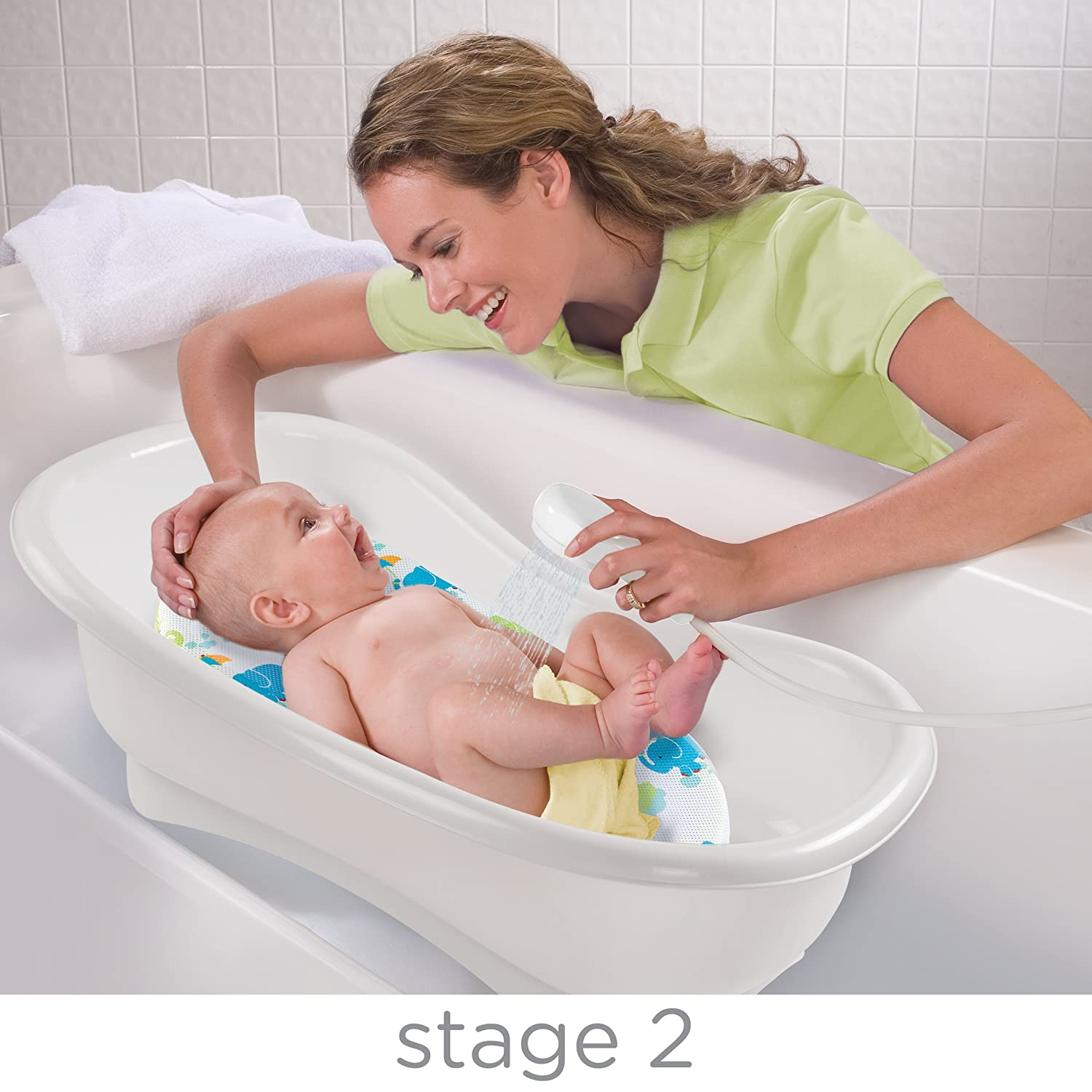 Amazon.com : Summer Infant Newborn To Toddler Bath Center And Shower, Blue  : Baby Bathing Seats And Tubs : Baby