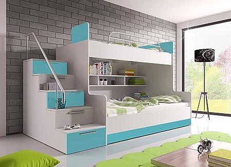 Hochglanz Etagenbett Alex : Hochglanz etagenbett doppelbett alex mit regalen treppe und