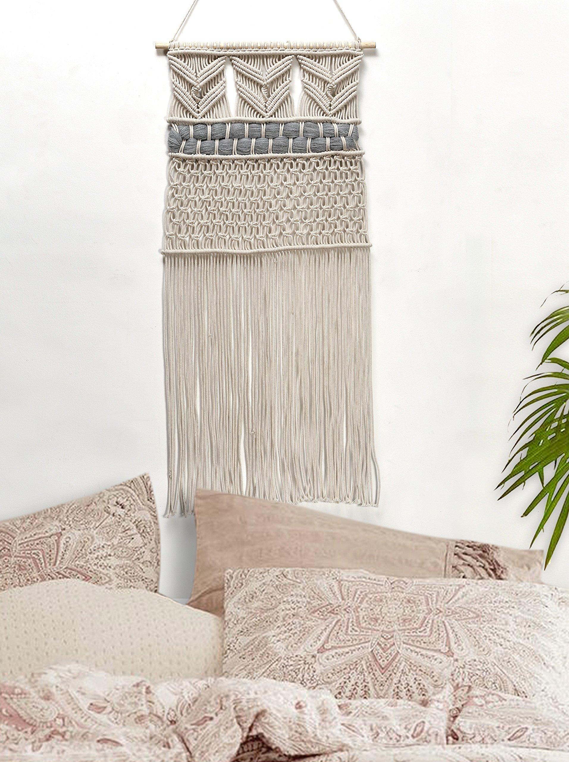 RawyalCrafts Handmade Macrame Wall Hanging- Woven Wall Art- Macrame Tapestry-Boho Wall Decor- Textile Wall hanging - 36''L X 15''W By by RawyalCrafts