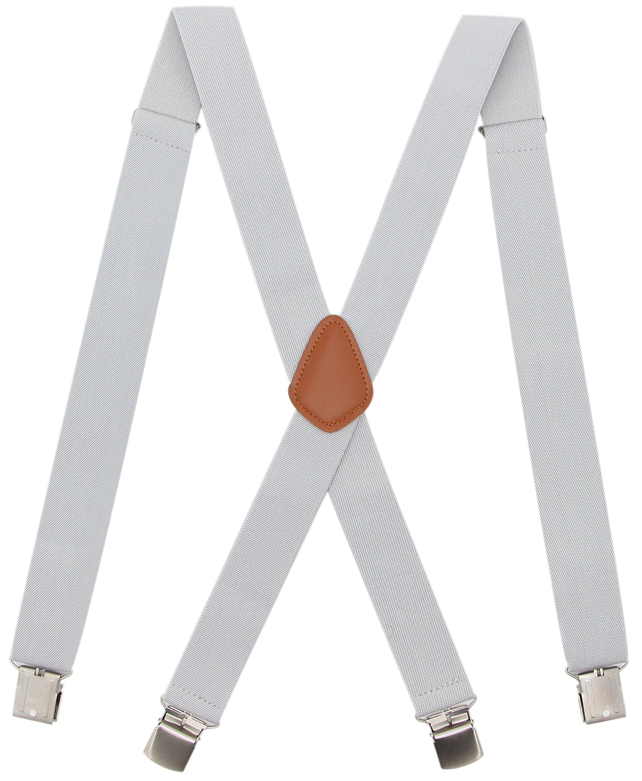 Bioterti Men's Heavy Duty X- Back Suspenders-Adjustable Size, Long & Elastic Braces (Light Grey)