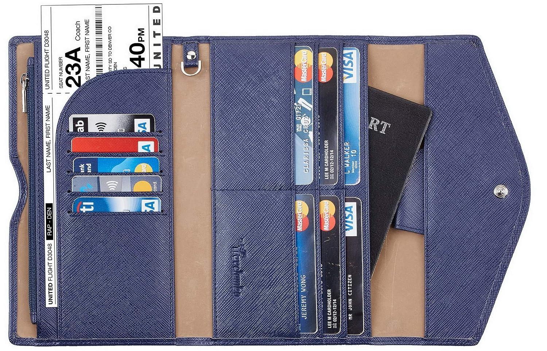 Travelambo Rfid Blocking Passport Holder Wallet & Travel Wallet Envelope Various Colors tra705