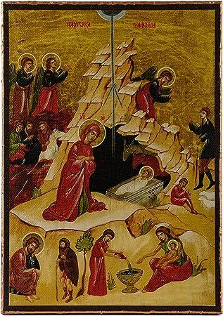 Christian Icon Nativity, catholic icons and orthodox icons (Icono cristiano  Natividad, iconos católicos e iconos ortodoxos), Icono de la Natividad:  Amazon.es: Hogar