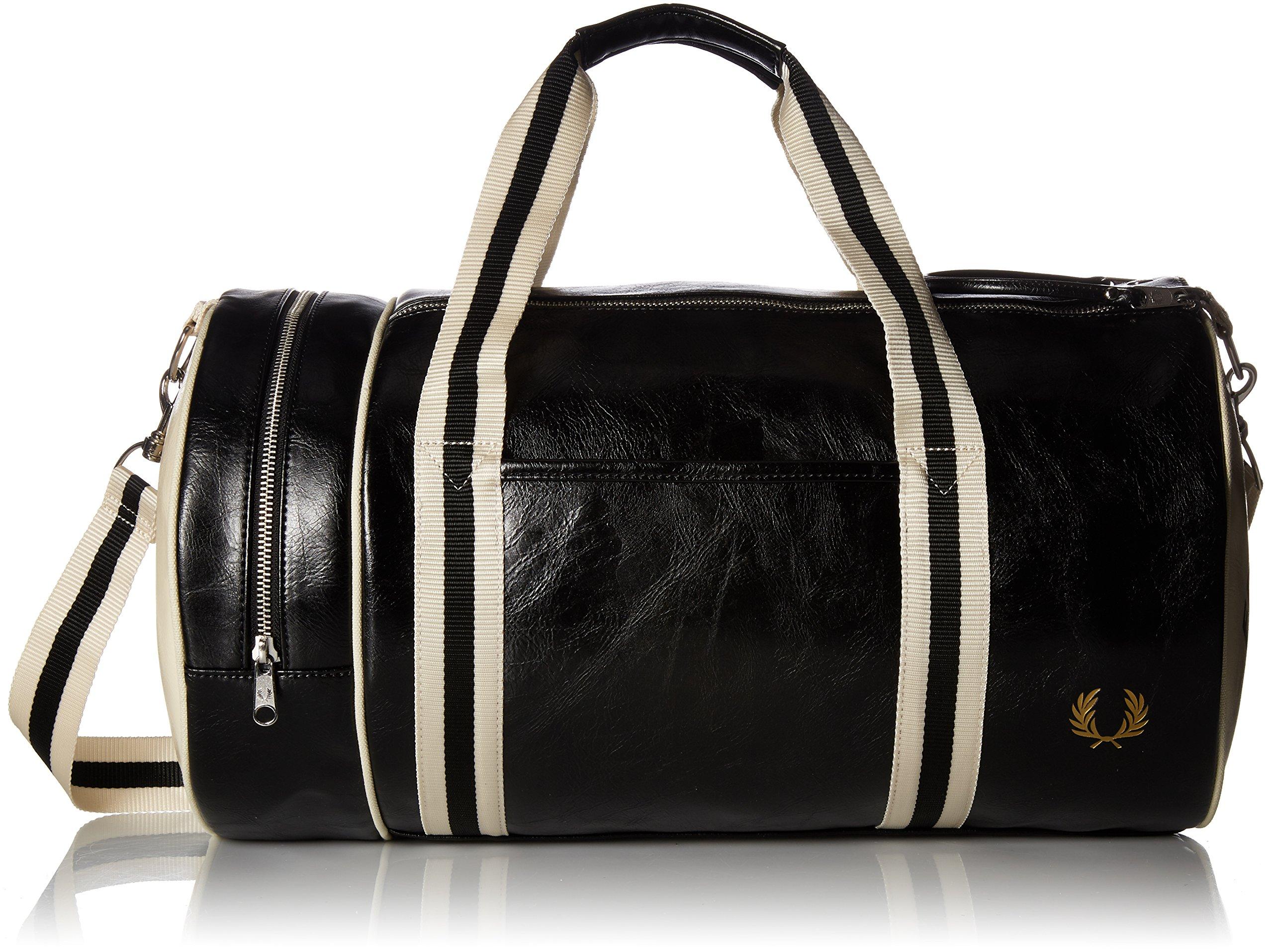 Fred Perry Men's Classic Barrel Bag, Black/Ecru, One Size