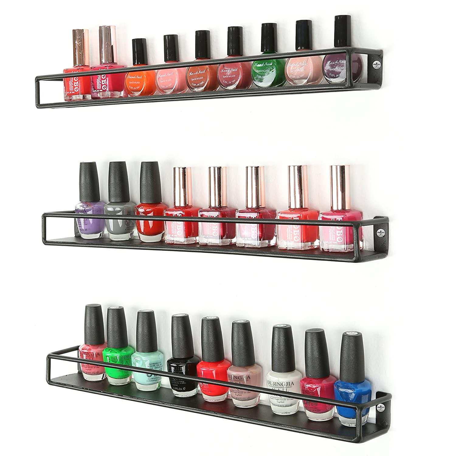 MyGift Set of 3 Black Metal Wall-Mounted Nail Polish & Essential Oils Display Shelves/Kitchen Spice Jars Rack BHBUKPPAZINH918