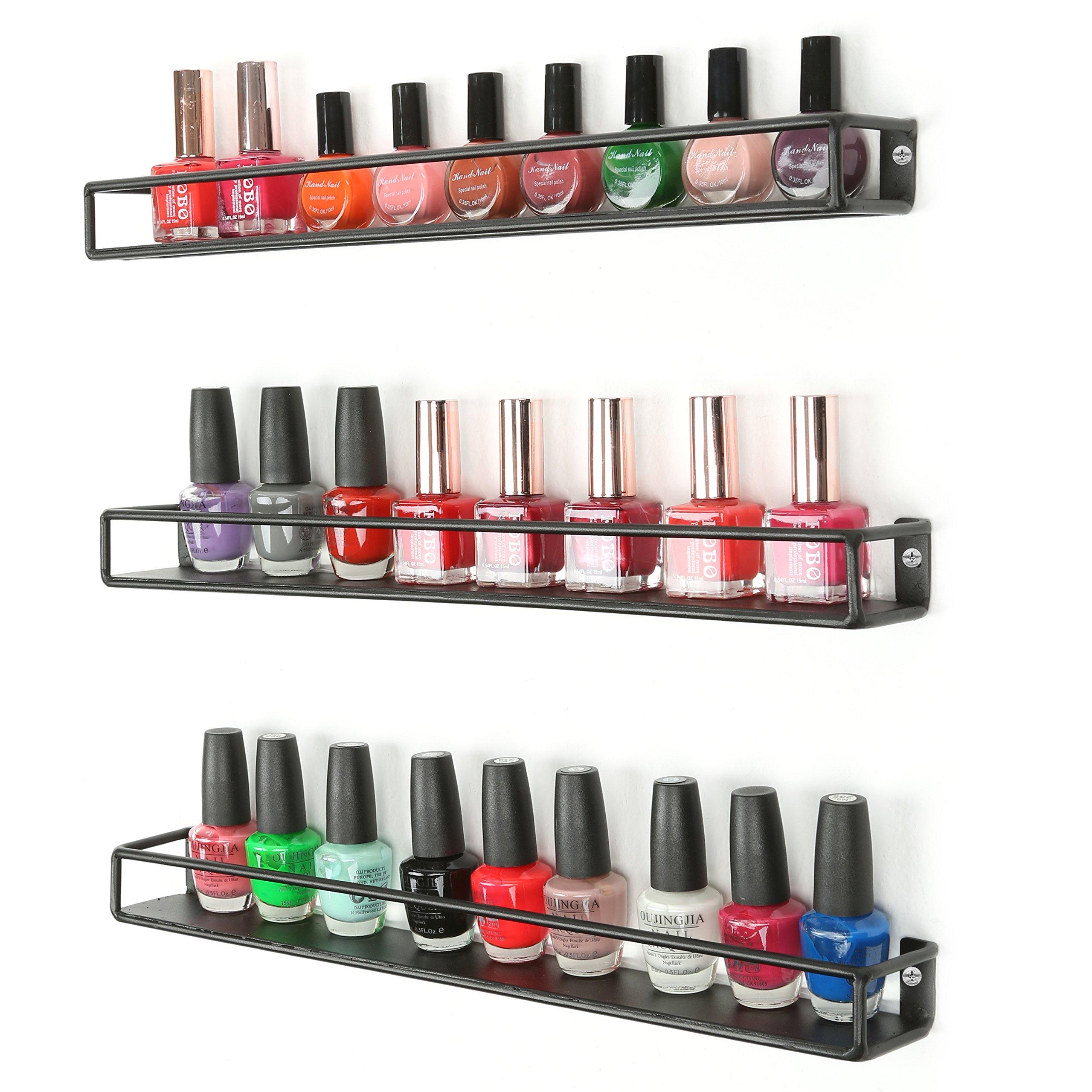 MyGift Set of 3 Black Metal Wall Mounted Nail Polish & Essential Oils Display Shelves/Kitchen Spice Jars Rack